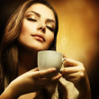 Beautiful Woman Drinking Coffee — Stock Photo