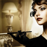 Retro Frau Portrait im klassischen Interieur — Stockfoto