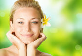 Spa Girl Over Nature Background — Stock Photo