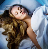Beautiful Young Woman Sleeping In Her Bed — Stock Photo
