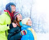 Happy Family Outdoors. Snow.Winter Vacation — Stock Photo