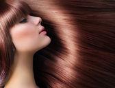 Capelli castani. bella donna con i capelli lunghi sani — Foto Stock