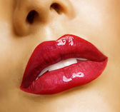 Sensual Mouth. Red Lipstick — Stock Photo