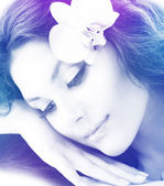 Beautiful Woman's Face. Transparent Colorful Art Design — Stock Photo