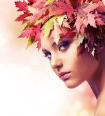Autumn Woman. Beautiful creative makeup — Stock Photo