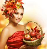 Autumn Girl with Apples — Stock Photo