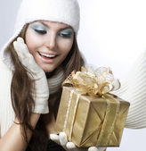 Christmas Gift. Surprised Beautiful Girl — Stock Photo