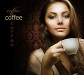 Beautiful Woman With Coffee. Isolated on black. Copy-space — Stock Photo