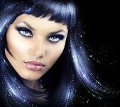 Beauty Brunette Girl with Magic Hair — Stock Photo