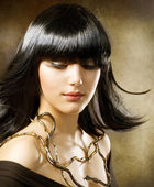 Beautiful Brunette. Hairstyle. Egyptian Style — Stock Photo
