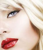 Beautiful Blond Woman Makeup.Red Lipstick.Retro Style — Stock Photo