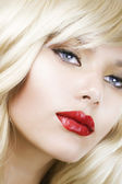 Beautiful Blond Woman Makeup.Red Lipstick.Retro Style — Stock Photo