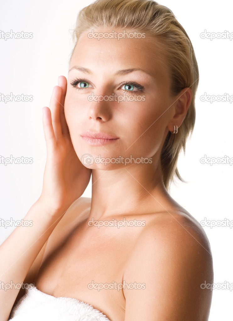 Beautiful Young Woman Touching Her Face. Perfect Skin  Stock Photo #10603842