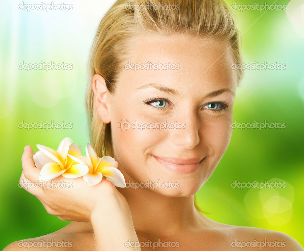 Spa Girl Over Nature Background — Stock Photo #10603880