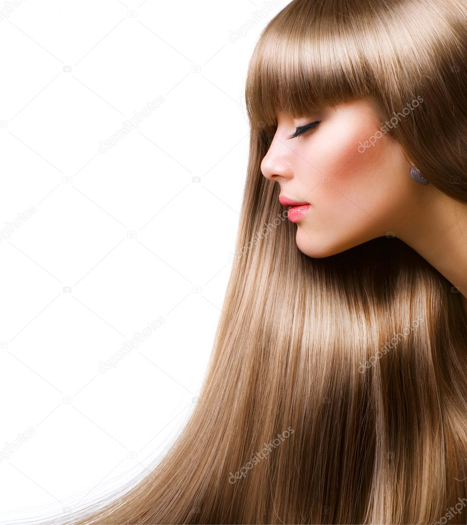 Blond Hair.Beautiful Woman with Straight Long Hair — Stock Photo #10605350