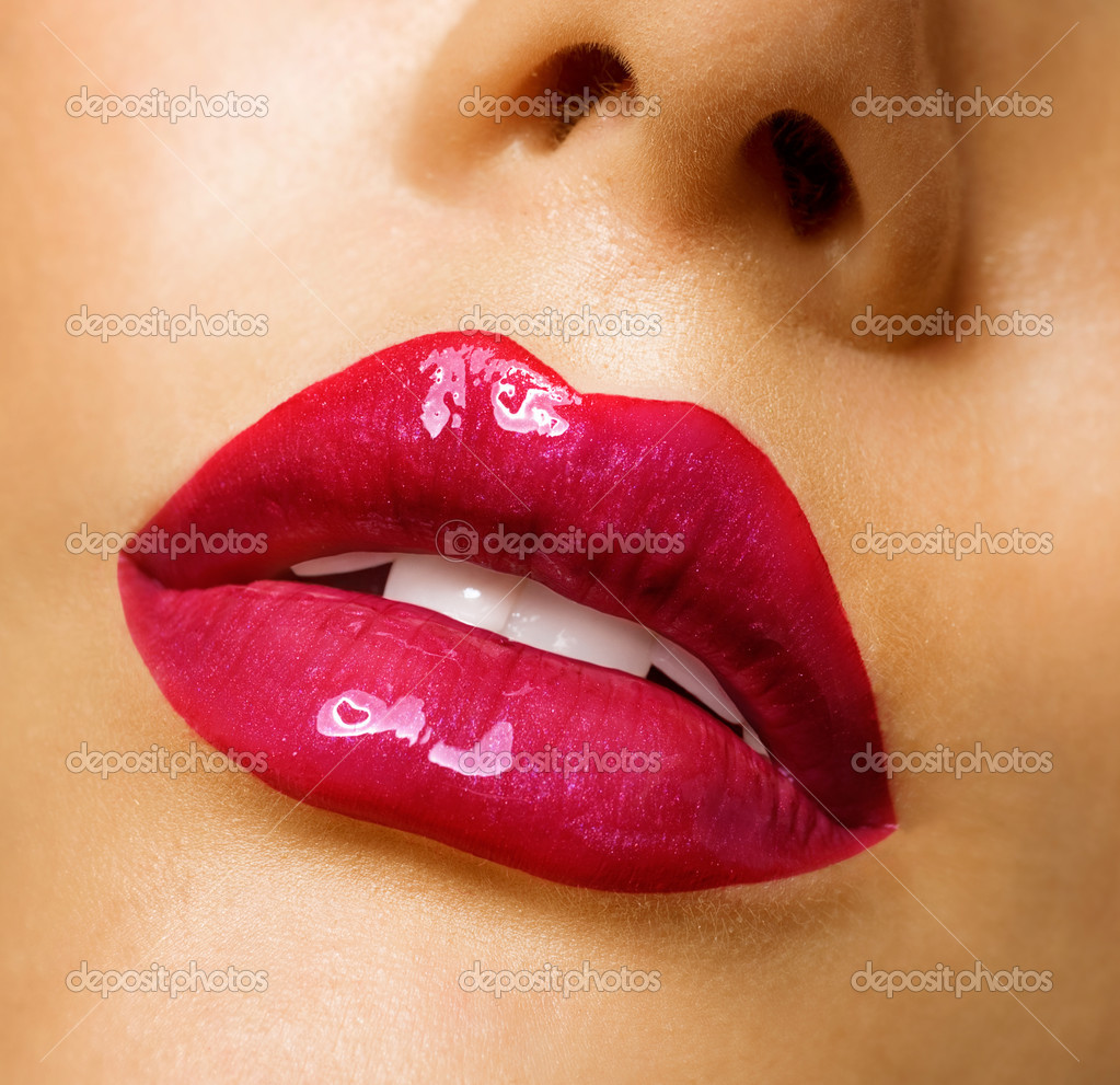 Sensual Mouth. Red Lipstick — Stock Photo #10605635