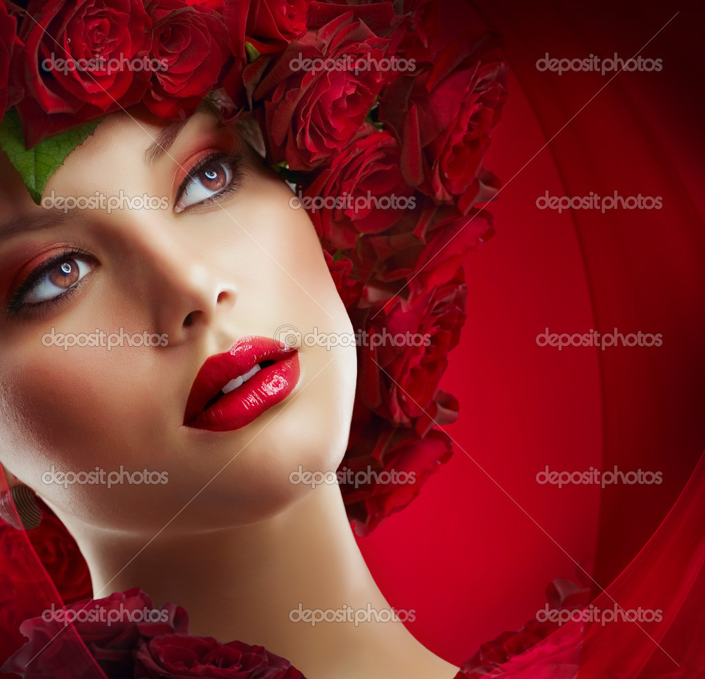 Beautiful Fashion Girl with red makeup and Roses. Hairstyle — Stock Photo #10605642