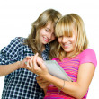 Teenage girls using touchpad. PC tablet — Stock Photo