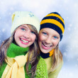 Winter Teenage Girls outdoors.Holidays.Happy Teens. — Stock Photo