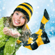 Stock Photo: Christmas Girl.Winter Teenage girl Blowing Snow .New Year celebr