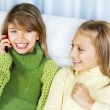 Teenage Girls Talking on Cell Phone — Foto de Stock