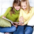 Teenage Girls reading fashion Magazine — Stock Photo