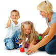 Children playing on the floor.Educational games for kids — Stock Photo