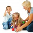 Stock Photo: Children playing on the floor.Educational games for kids