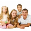 Happy Big Family. Parents with Kids — Stok fotoğraf