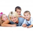 Happy Mother with kids having fun — Stock Photo