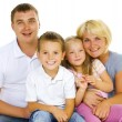 Happy Big Family Parents with kids over white — Stock Photo
