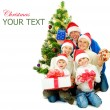 Stock Photo: Christmas Family isolated on white
