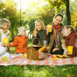 Stock Photo: Happy Big Family in Autumn Park. Picnic