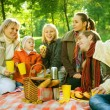 Foto Stock: Happy Family in a Park. Picnic