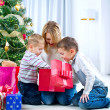 Happy Kids with Christmas Gifts — Stockfoto