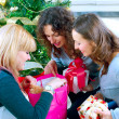 Christmas Party. Friends with Christmas Gifts — Stockfoto