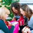 Christmas Party. Friends with Christmas Gifts — Stock Photo