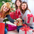Happy Big family holding Christmas presents at home.Christmas tr — Foto Stock