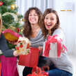 Christmas celebration. Friends with Christmas Gifts . New Year p - Stock Photo