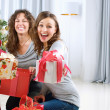 Foto de Stock  : Christmas Party. Friends with Christmas Gifts