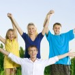 Happy Friends Outdoors. Hands Up — Stock Photo