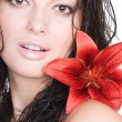 Beautiful Sexy Young Woman With Flower — Stock Photo
