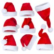 Santa's Hat set over white — Stock Photo