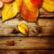 Autumn Leaves over wooden background — Foto Stock