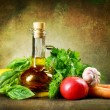 Healthy Vegetables And Olive Oil. Vintage Styled — Stock Photo #10676753