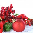 Stock Photo: Christmas Decorations over white