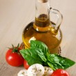 Olive Oil With Mozzarella, Tomato And Fresh Basil - Stock Photo