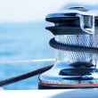 Sailboat Winch and Rope Yacht detail. Yachting. - Foto Stock