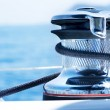 Sailboat Winch and Rope Yacht detail. Yachting. - Stock Photo