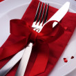 Romantic Dinner. Place setting for Valentine's Day - Foto Stock